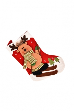 Womens Cute Christmas Reindeer Stocking Accessory Red
