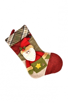 Womens Plaid Applique Embroidery Christmas Stocking Accessory Green