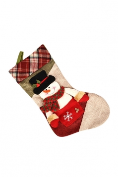 Womens Chic Plaid Applique Embroidery Christmas Stocking Accessory Red