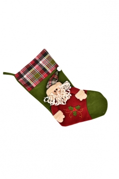 Womens Chic Plaid Christmas Stocking Accessory Green