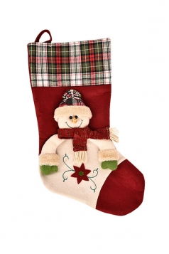 Womens Chic Plaid Christmas Stocking Accessory Red