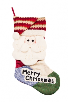 Womens Cute Applique Embroidery Christmas Stocking Accessory Red