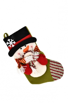 Womens Cute Snowman Christmas Stocking Accessory Green