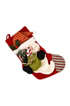 Womens Cute Snowman Christmas Stocking Accessory Red