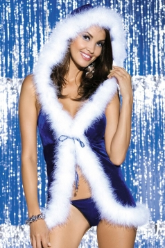 Womens Sexy Backless Hooded Christmas Party Lingerie Sapphire Blue