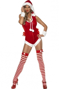 Womens Pretty Hooded Sleeveless Christmas Costume Red