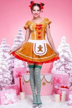 Womens Pretty Short Sleeve Christmas Ginger Bread Costume Orange
