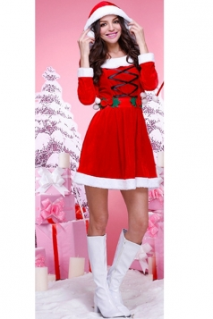 Womens Pretty Long Sleeve Hooded Christmas Party Costume Red