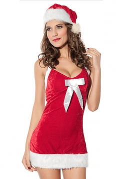 Womens Pretty Halter Backless Christmas Costume Red