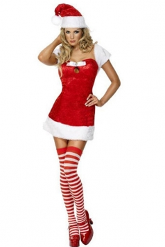 Womens Sexy Short Sleeve Santa Christmas Costume Red