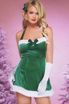 Womens Sexy Halter Bow Christmas Tree Costume Green