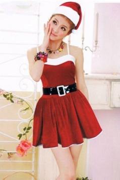 Womens Pretty Sleeveless Christmas Santa Claus Costume Red