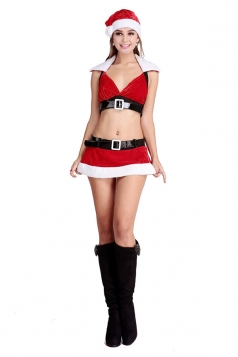 Womens Belt Uniform Temptation Cosplay Christmas Lingerie Costume Red