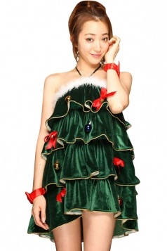 Womens Pretty Halter Off Shoulder Pleated Christmas Tree Costume Green