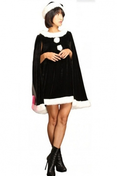 Womens Pretty Open Sleeve Poncho Christmas Costume Black