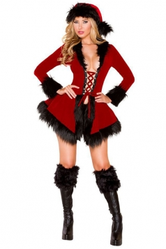 Womens Sexy Lace Up Front Long Sleeve Christmas Costume Ruby