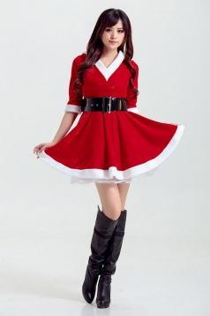 Womens Pretty V Neck Half Sleeve Pleated Christmas Dress Red