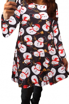 Womens Cute Little Snowman Printed Midi Christmas Party Dress Black