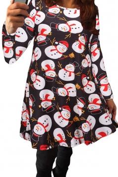 Womens Cute Little Snowman Printed Midi Christmas Party Dress Black