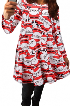 Womens Crewneck Santa Claus Printed Christmas Semi Formal Dress Red