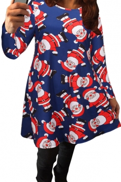 Womens Sexy Santa Claus Printed Long Sleeved Christmas Dress Blue