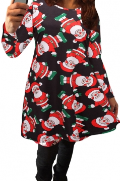 Womens Sexy Santa Claus Printed Long Sleeved Christmas Dress Black