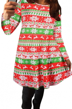 Womens Crewneck Fair Isle Printed Long Sleeved Christmas Dress Red