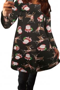 Womens Popular Floral Printed Long Sleeved Christmas Dress Black