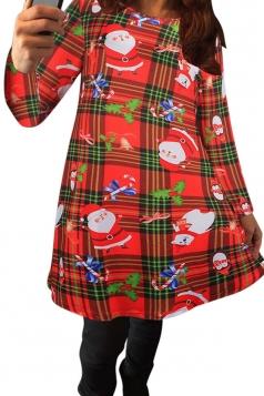 Womens Plaid Floral Printed Christmas Midi Dress Red