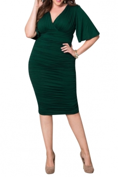 Womens Plus Size Sexy Deep V Neck Package Hip Midi Dress Green