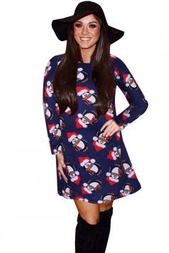 Womens Christmas Penguin Printed Long Sleeve Midi Dress Navy Blue