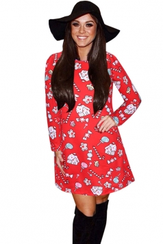 Womens Crewneck Candy Printed Ugly Christmas Midi Dress Red