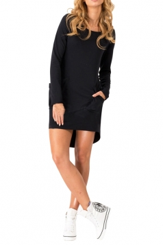 Womens Long Sleeve Boat Neck Pockets Asymmetric Knitted Dress Black