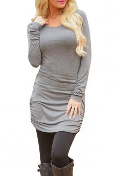 Womens Sexy Plain Long Sleeve Round Neck Asymmetric Dress Gray