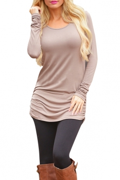 Womens Sexy Plain Long Sleeve Round Neck Asymmetric Dress Khaki