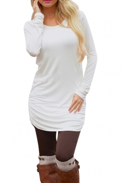 Womens Sexy Plain Long Sleeve Round Neck Asymmetric Dress White