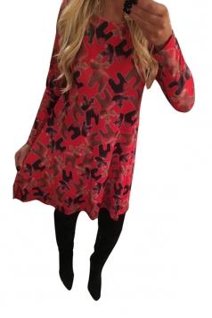Womens Chic Crewneck Long Sleeve Christmas Deer Print Shift Dress Red