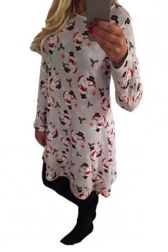Womens Carton Santa Snowman Print Long Sleeve Christmas Dress White