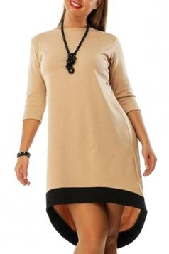 Womens Plain Crewneck Plus Size 3/4 Sleeve High Low Dress Khaki