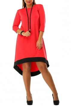 Womens Plain Crewneck Plus Size 3/4 Sleeve High Low Dress Red