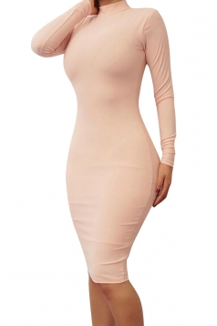 Womens Plain Mock Neck Bodycon Long Sleeve Knee Length Dress Pink