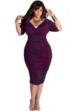 Womens Plain Sexy Deep V-Neck 1/2 Sleeve Draped Bodycon Dress Purple