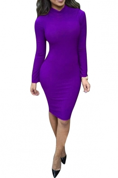 Womens Sexy Mock Neck Lace Up Bodycon Knee Length Dress Purple