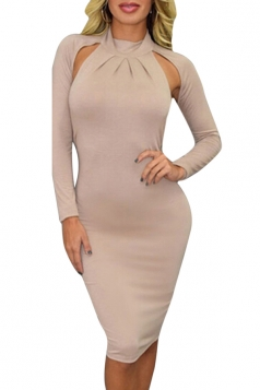 Womens Turtleneck Long Sleeve Cut Out Backless Midi Dress Khaki