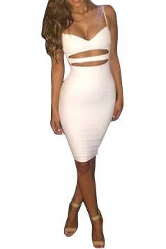 Womens Sexy Sleeveless Bodycon Knee Length Clubwear Dress White