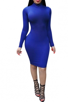 Womens Sexy High Neck Backless Lace Up Bodycon Dress Blue