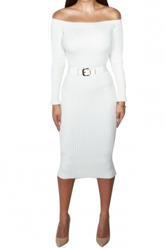 Womens Plain Boat Neck Vertical Stripes Knit Sweater Dress White