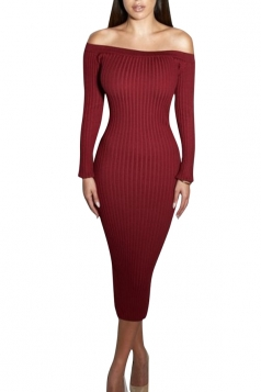 Womens Plain Boat Neck Vertical Stripes Knit Sweater Dress Ruby