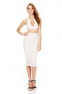 Womens Crew Neck Hollow Out Bandage Sleeveless Sexy Dress White
