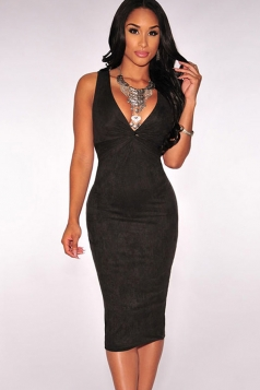Womens Faux Suede Backless Cut Out Knotted Keyhole Midi Dress Black